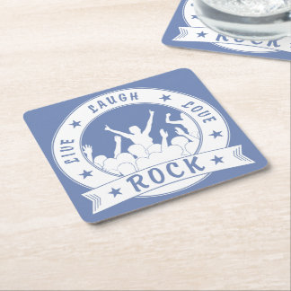 Live Laugh Love ROCK (wht) Square Paper Coaster