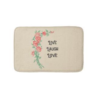 Live Laugh Love Rose Pattern Bath Mat
