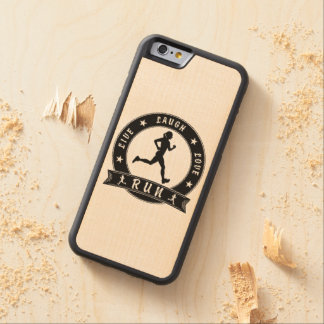 Live Laugh Love RUN female circle (blk) Carved Maple iPhone 6 Bumper Case