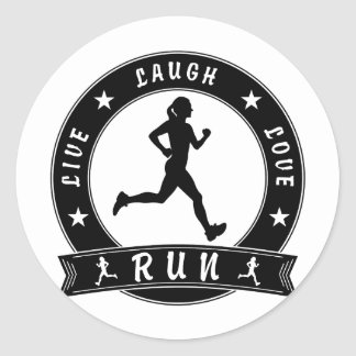 Live Laugh Love RUN female circle (blk) Classic Round Sticker