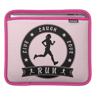 Live Laugh Love RUN female circle (blk) iPad Sleeve