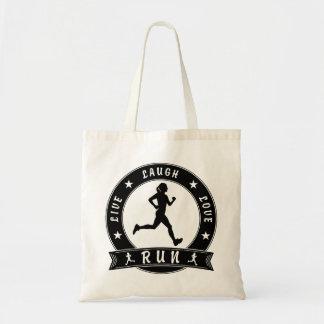 Live Laugh Love RUN female circle (blk) Tote Bag