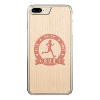 Live Laugh Love RUN female circle (pink) Carved iPhone 8 Plus/7 Plus Case