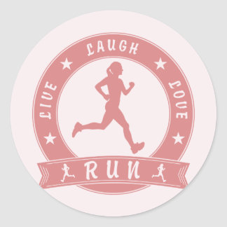 Live Laugh Love RUN female circle (pink) Classic Round Sticker