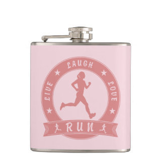 Live Laugh Love RUN female circle (pink) Hip Flask