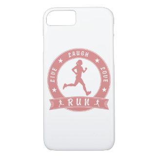 Live Laugh Love RUN female circle (pink) iPhone 8/7 Case