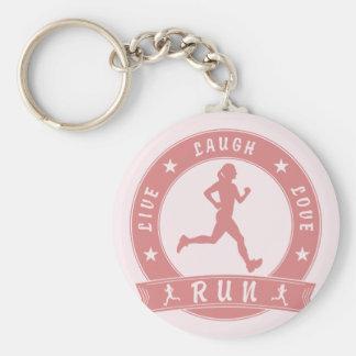 Live Laugh Love RUN female circle (pink) Keychain