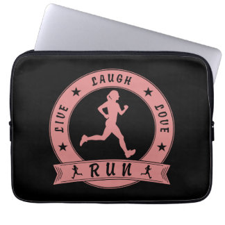 Live Laugh Love RUN female circle (pink) Laptop Sleeve