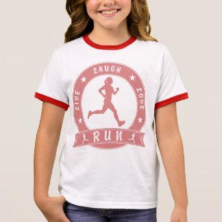 Live Laugh Love RUN female circle (pink) Ringer T-Shirt