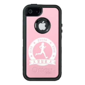 Live Laugh Love RUN female circle (wht) OtterBox Defender iPhone Case