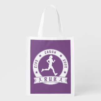 Live Laugh Love RUN female circle (wht) Reusable Grocery Bag
