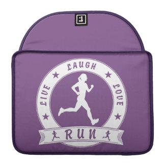 Live Laugh Love RUN female circle (wht) Sleeve For MacBook Pro