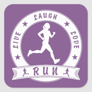 Live Laugh Love RUN female circle (wht) Square Sticker