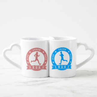 Live Laugh Love RUN female & male circle Coffee Mug Set