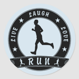 Live Laugh Love RUN male circle (blk) Classic Round Sticker