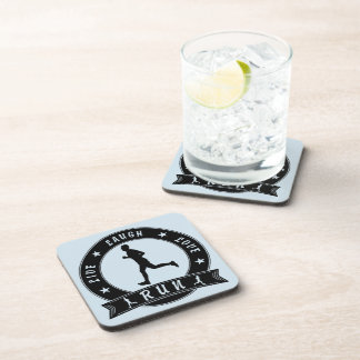 Live Laugh Love RUN male circle (blk) Coaster