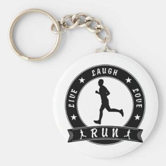 Live Laugh Love RUN male circle (blk) Keychain