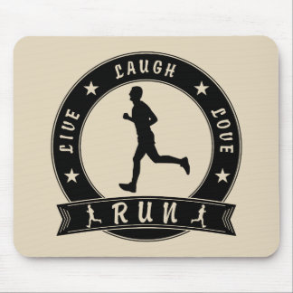 Live Laugh Love RUN male circle (blk) Mouse Pad