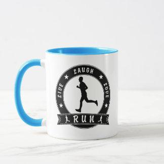 Live Laugh Love RUN male circle (blk) Mug