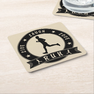 Live Laugh Love RUN male circle (blk) Square Paper Coaster