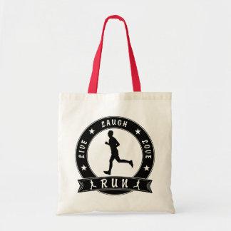 Live Laugh Love RUN male circle (blk) Tote Bag