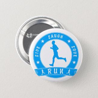 Live Laugh Love RUN male circle (blue) 2 Inch Round Button