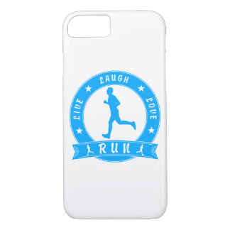 Live Laugh Love RUN male circle (blue) Case-Mate iPhone Case