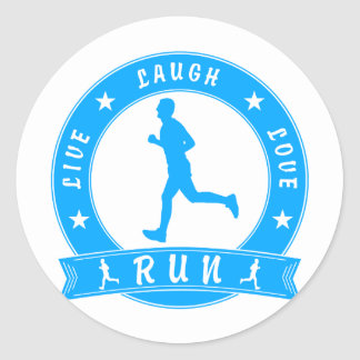 Live Laugh Love RUN male circle (blue) Classic Round Sticker