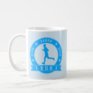 Live Laugh Love RUN male circle (blue) Coffee Mug