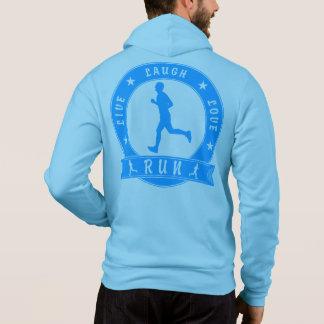 Live Laugh Love RUN male circle (blue) Hoodie