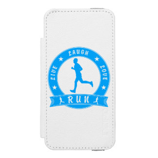 Live Laugh Love RUN male circle (blue) Incipio Watson™ iPhone 5 Wallet Case