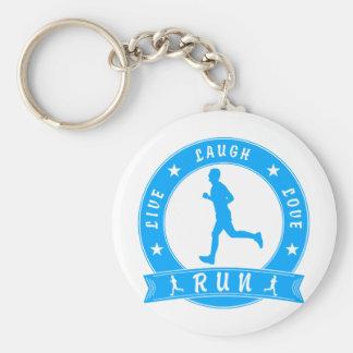 Live Laugh Love RUN male circle (blue) Keychain