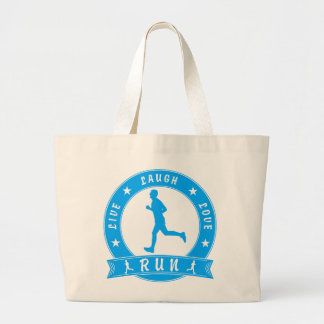 Live Laugh Love RUN male circle (blue) Large Tote Bag