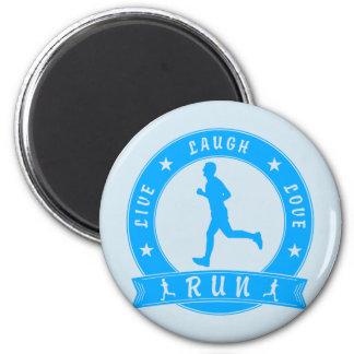 Live Laugh Love RUN male circle (blue) Magnet