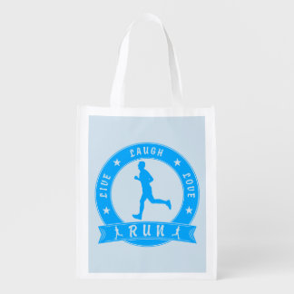 Live Laugh Love RUN male circle (blue) Reusable Grocery Bag