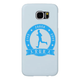 Live Laugh Love RUN male circle (blue) Samsung Galaxy S6 Cases