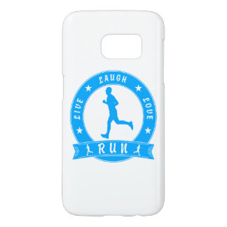 Live Laugh Love RUN male circle (blue) Samsung Galaxy S7 Case
