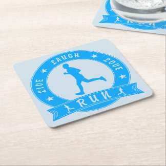 Live Laugh Love RUN male circle (blue) Square Paper Coaster