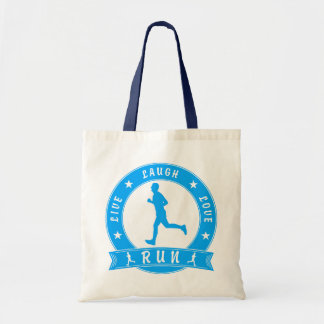 Live Laugh Love RUN male circle (blue) Tote Bag