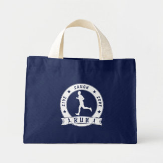 Live Laugh Love RUN male circle (wht) Mini Tote Bag