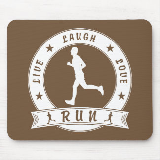 Live Laugh Love RUN male circle (wht) Mouse Pad