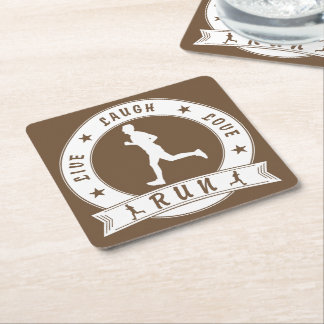 Live Laugh Love RUN male circle (wht) Square Paper Coaster
