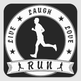 Live Laugh Love RUN male circle (wht) Square Sticker