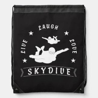 Live Laugh Love Skydive. Drawstring Bag