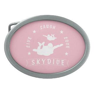 Live Laugh Love Skydive. Oval Belt Buckles