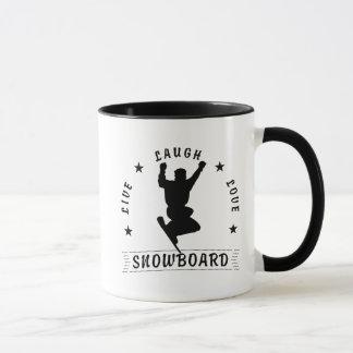 Live Laugh Love SNOWBOARD 2 black text Mug
