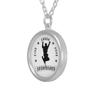 Live Laugh Love SNOWBOARD black text Silver Plated Necklace
