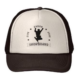 Live Laugh Love SNOWBOARD black text Trucker Hat