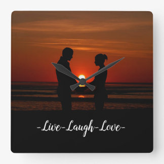 Live Laugh Love Square Wall Clock