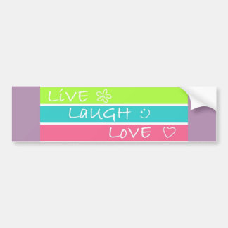 Live Laugh Love striped design Bumper Sticker